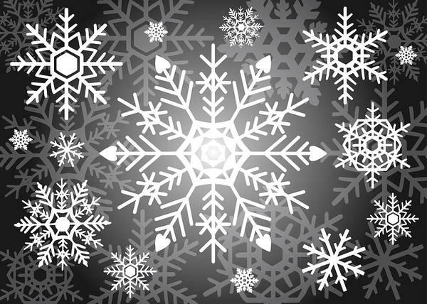 Snowflakes Black And White Poster