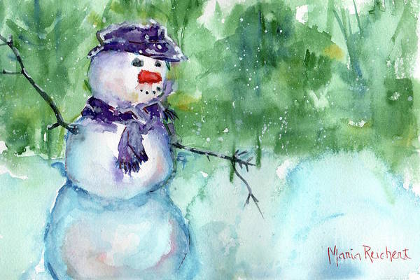 Snowman Watercolor Poster