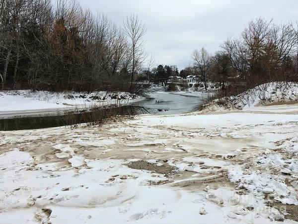 Snowy Elk Rapids River Poster