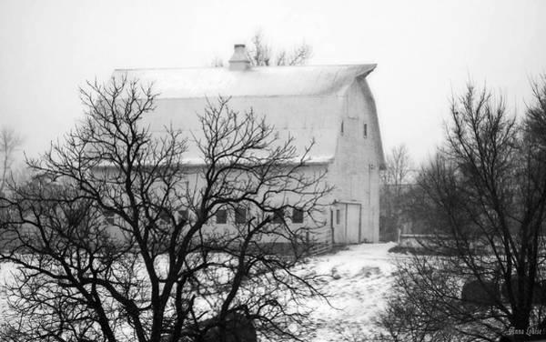 Snowy White Barn Poster