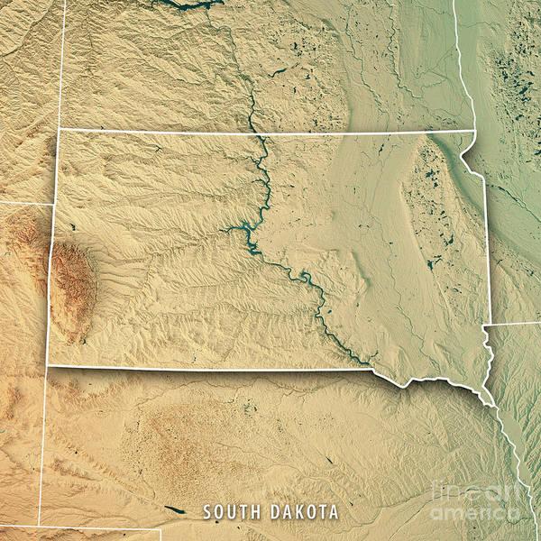 South Dakota State Usa 3d Render Topographic Map Border Poster