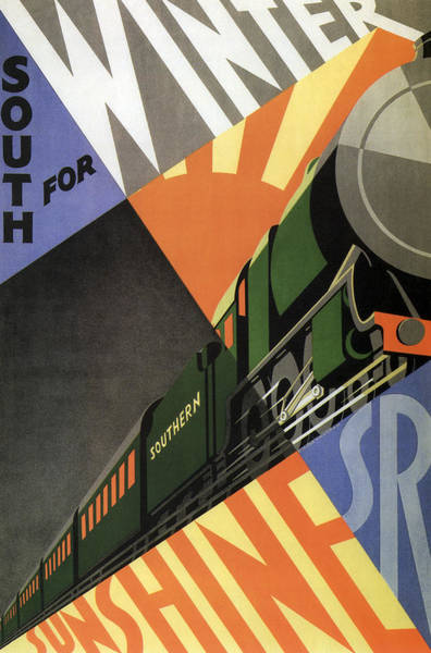 British Go South For Winter Sunshine Vintage Travel C. 1934 Poster