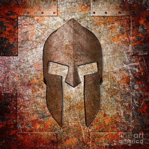 Spartan Helmet On Rusted Riveted Metal Sheet Poster