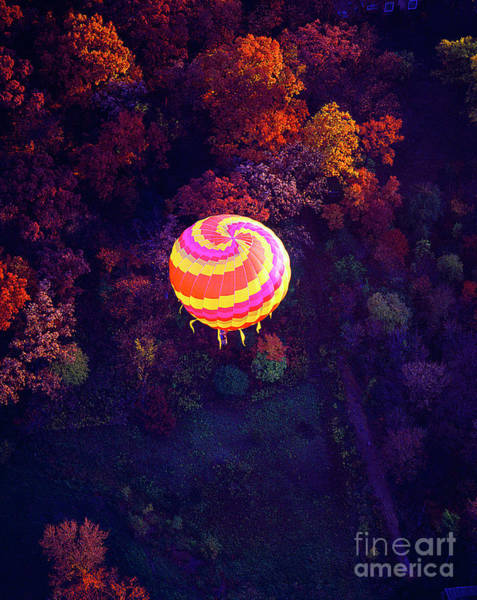 Spiral Colored Hot Air Balloon Over Fall Tree Tops Mchenry   Poster