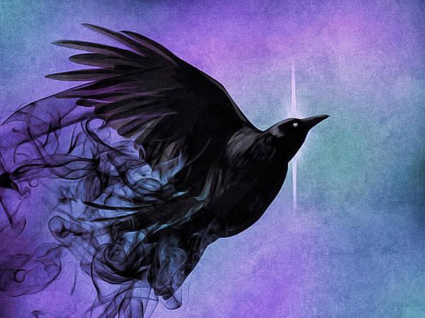 Poster featuring the digital art Spirit Raven by Susan Maxwell Schmidt