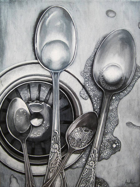 Spoons Realistic Still Life Painting Poster