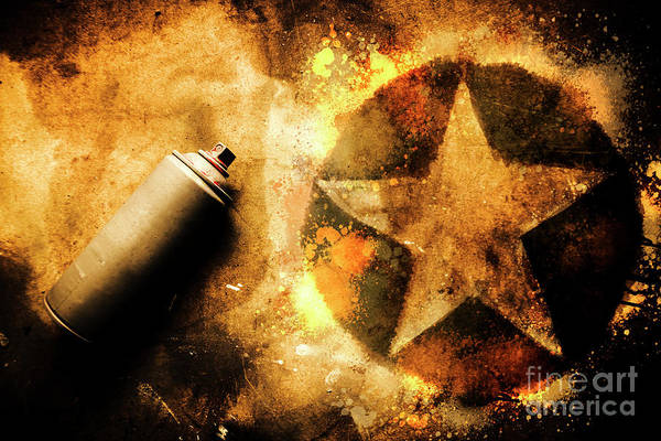 Spray Can With Army Star Graffiti Poster
