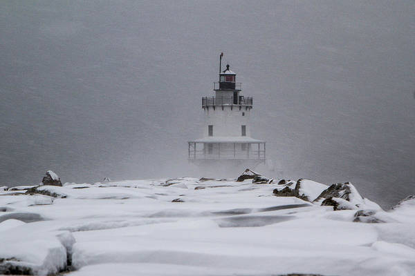 Spring Point Ledge Lighthouse Blizzard Poster