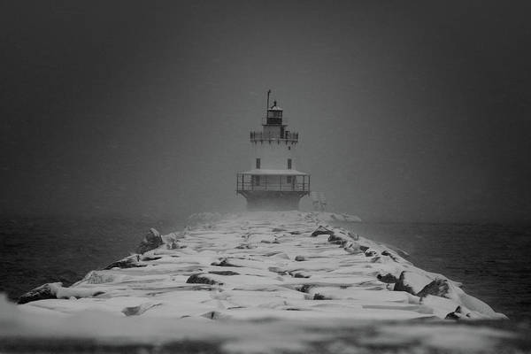 Spring Point Ledge Lighthouse Blizzard In Black N White Poster