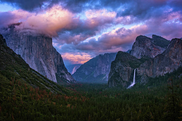 Spring Sunset At Yosemite's Tunnel View Poster