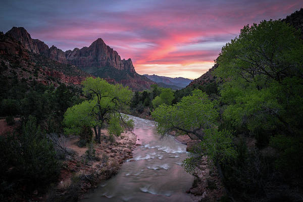Springtime Sunset At Zion National Park Poster