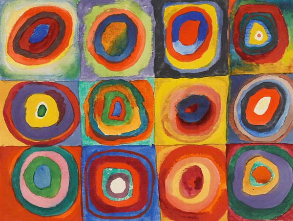 Squares With Concentric Circles Poster