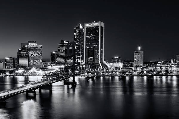St Johns River Skyline By Night, Jacksonville, Florida In Black And White Poster