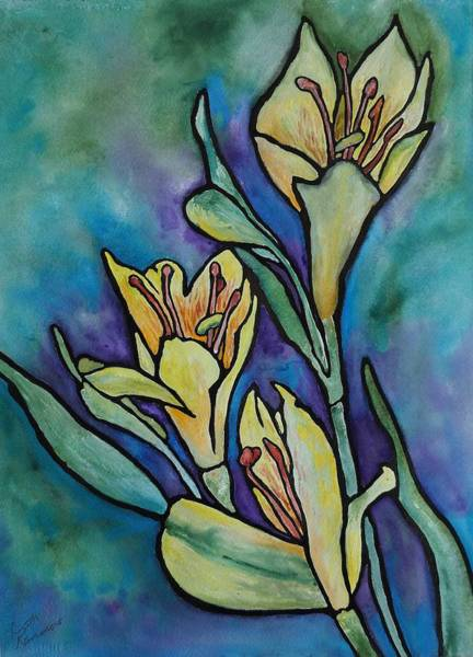 Stained Glass Flowers Poster