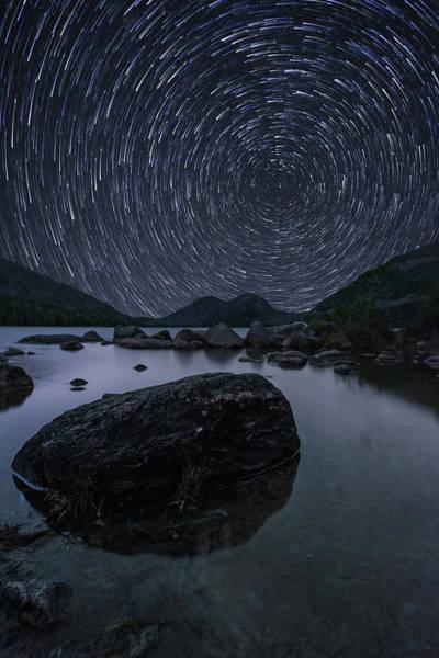 Star Trails Over Jordan Pond Poster