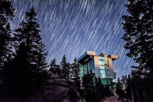 Star Trails Over The Large Binocular Telescope Poster