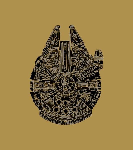 Star Wars Art - Millennium Falcon - Black Poster