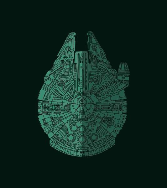 Star Wars Art - Millennium Falcon - Blue Green Poster