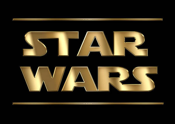 Star Wars Golden Typography On Black Poster