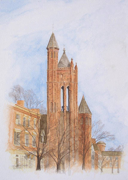 Poster featuring the painting State Street Church by Dominic White