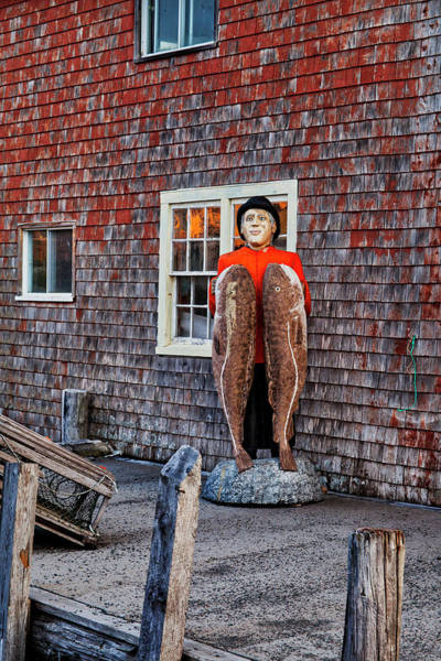 Statue Of Fisherman Holding Cod Peggy's Cove Poster