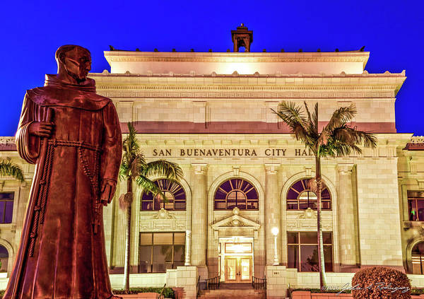 Statue Of Saint Junipero Serra In Front Of San Buenaventura City Hall Poster
