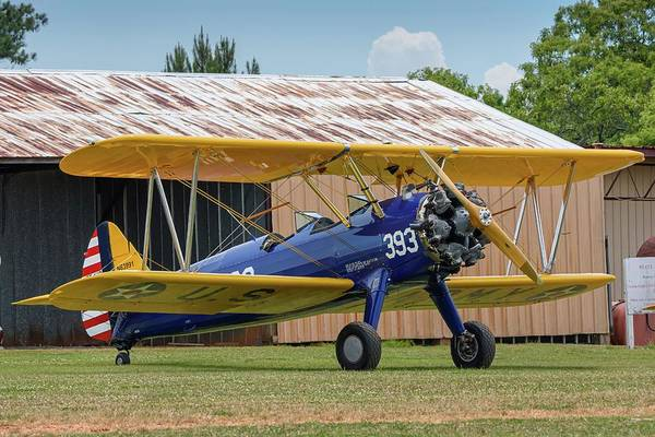 Stearman And Old Hangar Poster