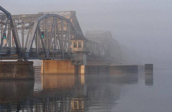 Steel Bridge In Fog Poster