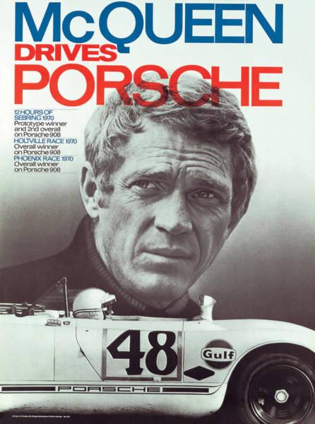 Steve Mcqueen Drives Porsche Poster