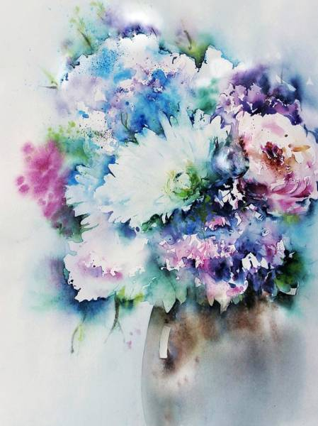 Still Life Rose Bouquet Watercolour Poster