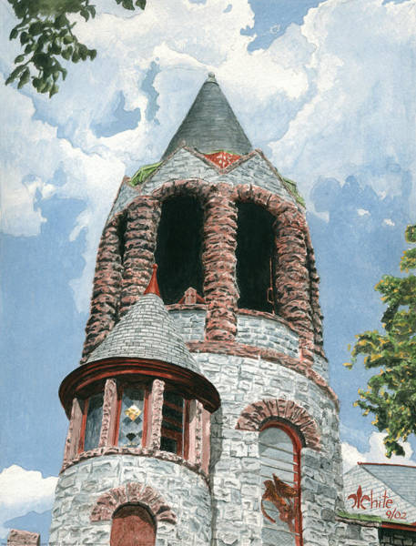 Poster featuring the painting Stone Church Bell Tower by Dominic White
