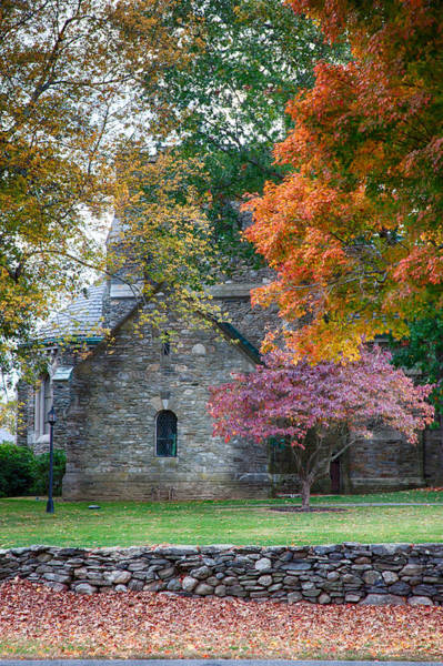 Stone Church In Pomfret Ct In Autumn Poster