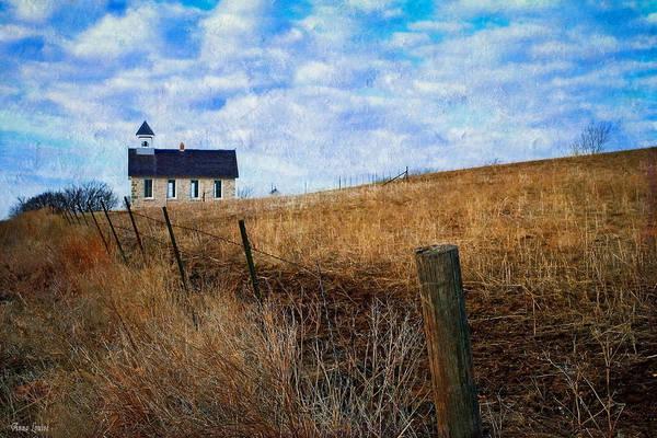 Stone Schoolhouse On The Kansas Prairie Poster