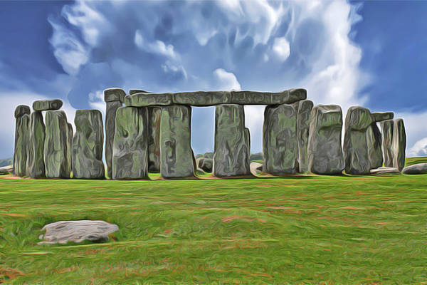 Poster featuring the digital art Stonehenge by Harry Warrick