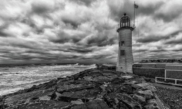 Storm Clouds Over Old Scituate Lighthouse In Black And White Poster