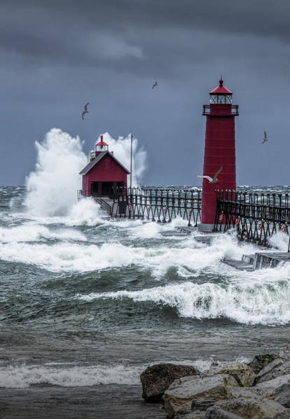 Storm On Lake Michigan By The Grand Haven Lighthouse With Flying Gulls Poster