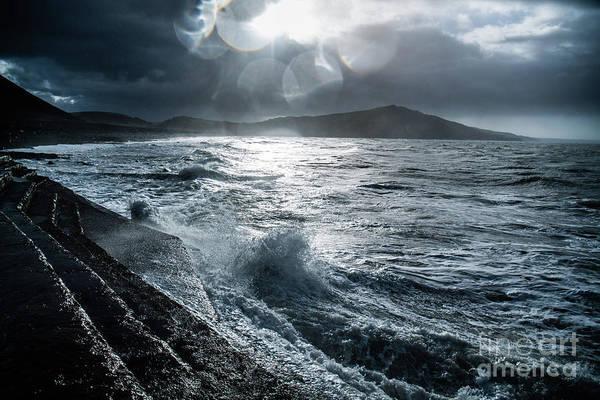 Stormy Seas At Tanybwlch Aberystwyth Poster