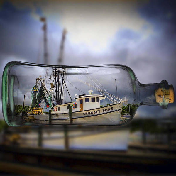 Stormy Seas - Ship In A Bottle Poster