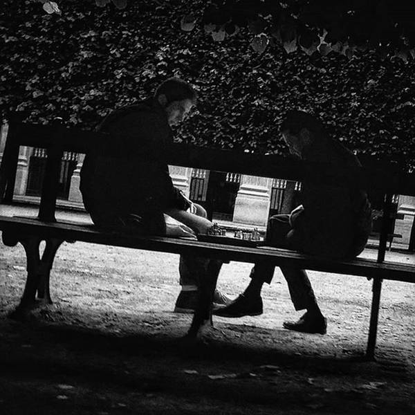 Street Chess #chess #game #bench #park Poster