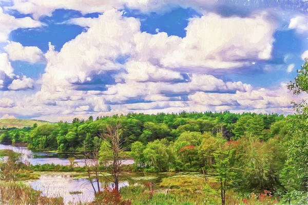 Striking Clouds Above Small Water Inlet And Green Trees Poster