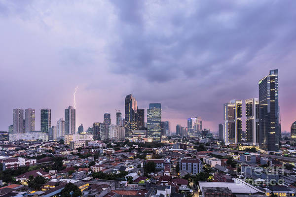 Stunning Sunset Over Jakarta, Indonesia Capital City Poster
