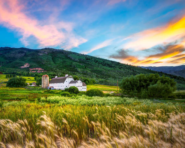Summer Sunset At Park City Barn Poster