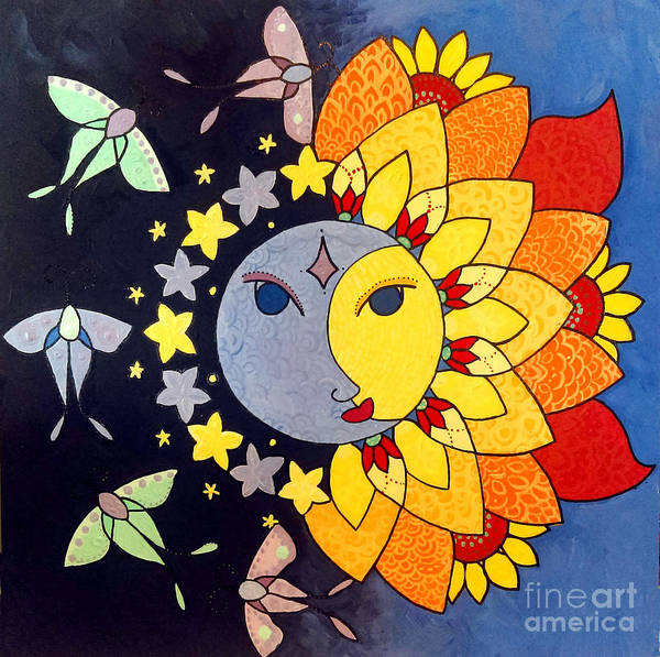 Poster featuring the painting Sun And Moon by Caroline Sainis