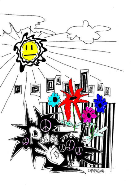 Poster featuring the drawing Sun Shiny Day by Teddy Campagna