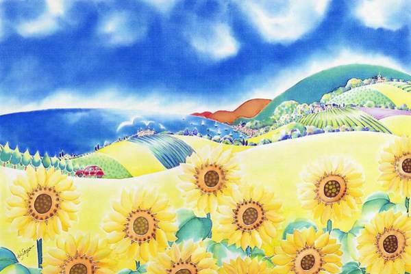 Poster featuring the painting Sunflower Hills by Hisayo Ohta