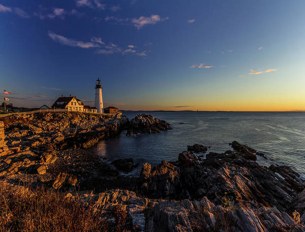 Sunrise At Portland Headlight Poster