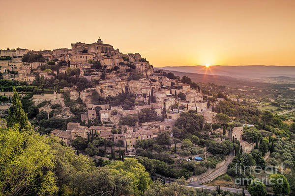 Poster featuring the photograph Sunrise In Gordes Provence  by Juergen Held