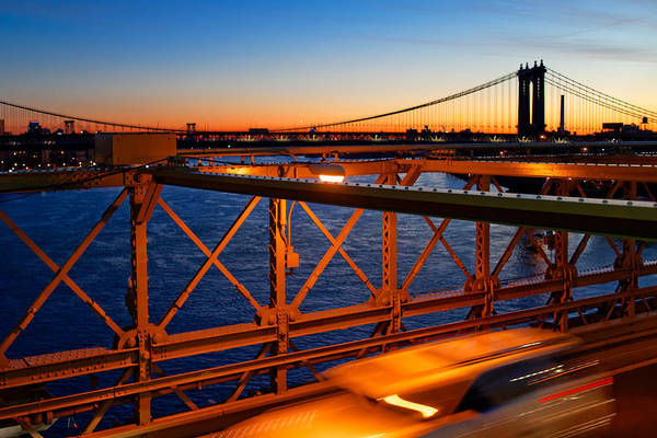 Sunrise On The Brooklyn Bridge Poster