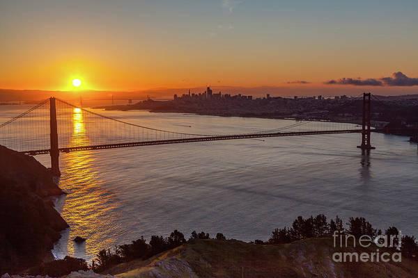 Sunrise Sunlight Hitting The Coastal Rock On The Shore Of The Go Poster
