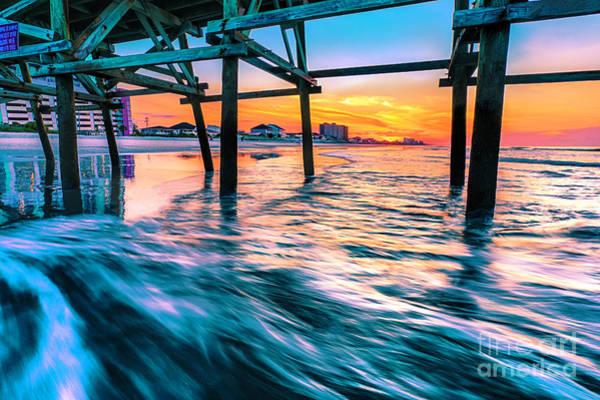 Sunrise Under Cherry Grove Pier Poster